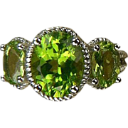 SALE Peridot 3 Stone Ring - 14k White Gold, Size 7.