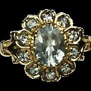 SALE Early Mid-Century-Aquamarine Ring-14k.  Size 7 1/2.