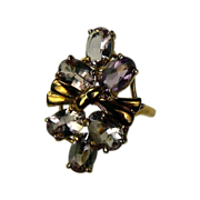 SALE Amethyst Ring  in 10k Yellow Gold~Size 7.