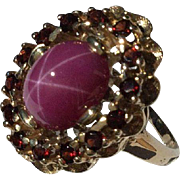 SALE 14k Star Ruby and Garnet Ring-Size 6 1/2.