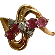 Mid-Century Ruby & Diamond Ring in 10k . Size 6.5