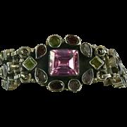 SALE Hand Wrought Sterling Gemstone Bracelet.