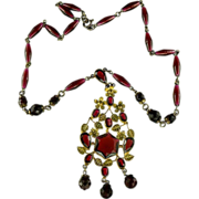 SALE Art Deco Red Glass Necklace.