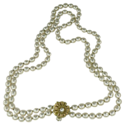 "SALE 22"" Double Strand Miriam Haskel Faux Baroque Pearl Necklace"