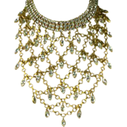SALE Vintage Vegas Showgirl Crystal Bib Necklace.