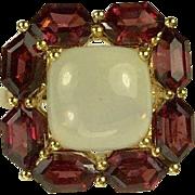 SALE Garnet & Moonstone Ring-14l-Size 6 1/4.