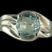 SALE Natural Blue Aquamarine Ring in 18k~Size 7.