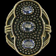SALE Heavy, Large Tanzanite Ring~9k~Size 7.