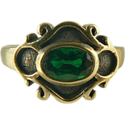 SALE Lovely Green Tourmaline Ring~14k~Size 8.