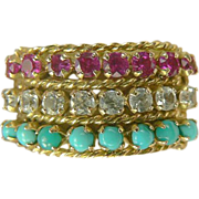 SALE Ruby, Turquoise & White Sapphire Ring-14k-Size 8.