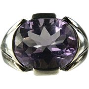 SALE Large Amethyst and Sterling Ring.
