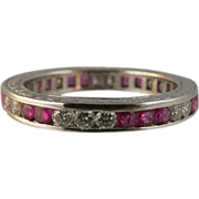 SALE Diamond and Ruby Platinum Anniversary Ring, Size 7 1/2.