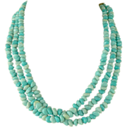 SALE Alice Caviness~Triple Strand Genuine Turquoise Necklace & Earrings.