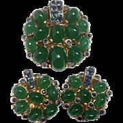 Art Deco Costume Dress Clip ~ Faux Blue Sapphires & Green Onyx