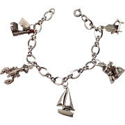 SALE Vintage Maine Themed Sterling Silver Charm Bracelet ~ 5 Chunky 3D Charms