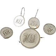 Sentimental Victorian Love Token Earrings Brooch Cuff Button Suite ~ American Silver Coins