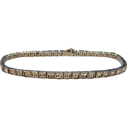 Art Deco 1920's Sterling DIAMONBAR Princess Cut Paste Bracelet