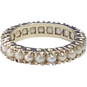 Vintage 14K WG Pearl Eternity Ring / Band ~ Size 5 1/2