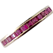 Vintage 14K WG Ruby Eternity Band / Ring ~ Size 7