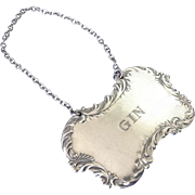 SOLD Sterling Silver GIN Liquor Decanter Tag / Label