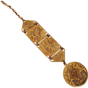 c1910 Egyptian Revival Gents Brass Watch Fob Chain