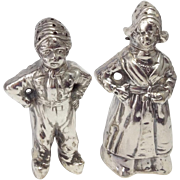 800 Silver Dutch Boy & Girl Figural Salt & Pepper Shakers