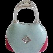 Vintage Handbag / Purse Enamel Crystal & Sterling Charm / Pendant