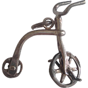 SALE Vintage Old Fashioned Silver Bicycle Charm