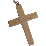 c1912 Antique 14K Gold Cross Pendant ~ Inscribed