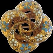 SALE Victorian Love Knot Brooch ~ Enameled Flower Motif