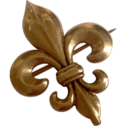 Antique 14K Gold Classic Puffy Fleur de Lis Watch Pin