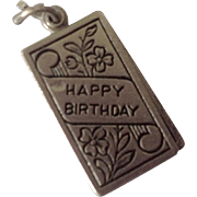 Surprise Happy Birthday Card Sterling Silver Charm ~ Moveable
