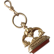 Exceptional Ornate Victorian GF Watch Fob Seal Carnelian