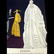 SOLD RARE 1920s Art Deco GAZETTE BON TON Pochoir Fashion Print & Mat Lanvin 1924
