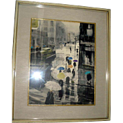 "SALE Original Ralph Avery Watercolor ""Umbrellas Dancing in The Rain"""
