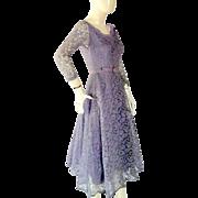 Vintage 1950's Lavender LACE Prom Evending Dance Dress Bust 32 Small