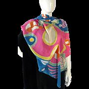 Vintage Designer Tina Leser CELEBRITY OWNED scarf SILK Designer From Charlton Heston Estate
