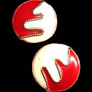 MOD Enamel Post Stud Pierced Earrings - Red, Cream and Gold Tone Trim - Vintage Earrings