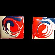 MOD Red White and Blue Enamel Pierced Earrings - Vintage Post Pierced Earrings