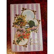 Vintage Embossed Easter Holiday Postcard - Antique Post Card
