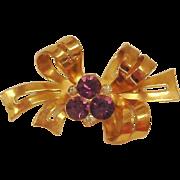 SALE CORO Amethyst Rhinestone Bow Brooch - Gold Wash Vintage Jewelry by Coro