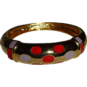 SALE Vintage Gold Tone Enameled Bangle Bracelet