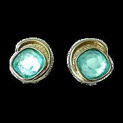 Vintage BERGERE Gold Tone Rhinestone Earrings