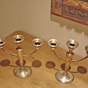 Vintage Sterling Silver 3-Arm Candelabra  -  Candle Holder Set - 2