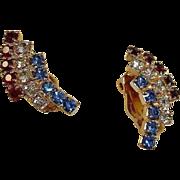 Red White and Blue Rhinestone Earrings - Patriotic Colors - Vintage Clip On Rhinestone Earring