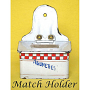 Old MATCHES BOX – Graniteware Wall Hanging Match Safe - Vintage FRENCH Enamel Allumettes Red