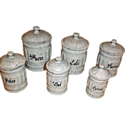 SALE Vintage Graniteware Canister Set - 6 Snow On The Mountain Enamelware Cannisters