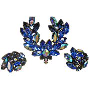 Vintage Blue AUSTRIAN Rhinestone Brooch and Earrings Set - Vintage Rhinestone Demi Parure ...