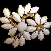 SALE Vintage White Milk Glass and Rhinestone Brooch - Vintage Rhinestone Jewelry