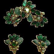 SALE Vintage JUDY LEE Demi Parure - GREEN Rhinestone Brooch and Earrings Set – Vintage JUDY
